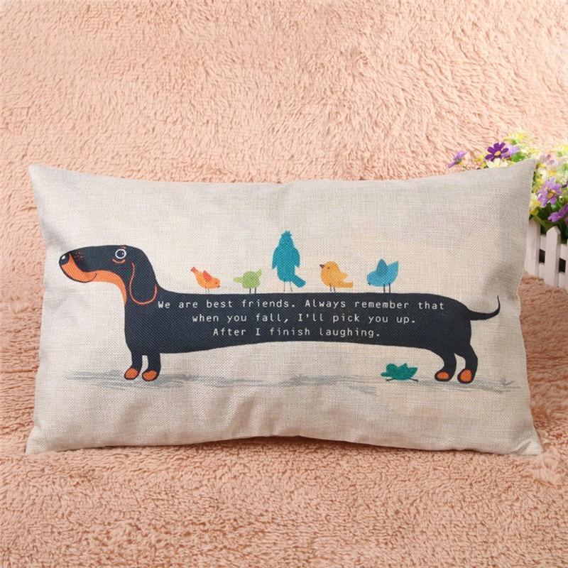Lovely Dachshund Dog Print Cushion Cover Sausage Dog Puppy Decor Sofa Throw Pillow Case Cojines Decorativos Para Sofa Almofadas