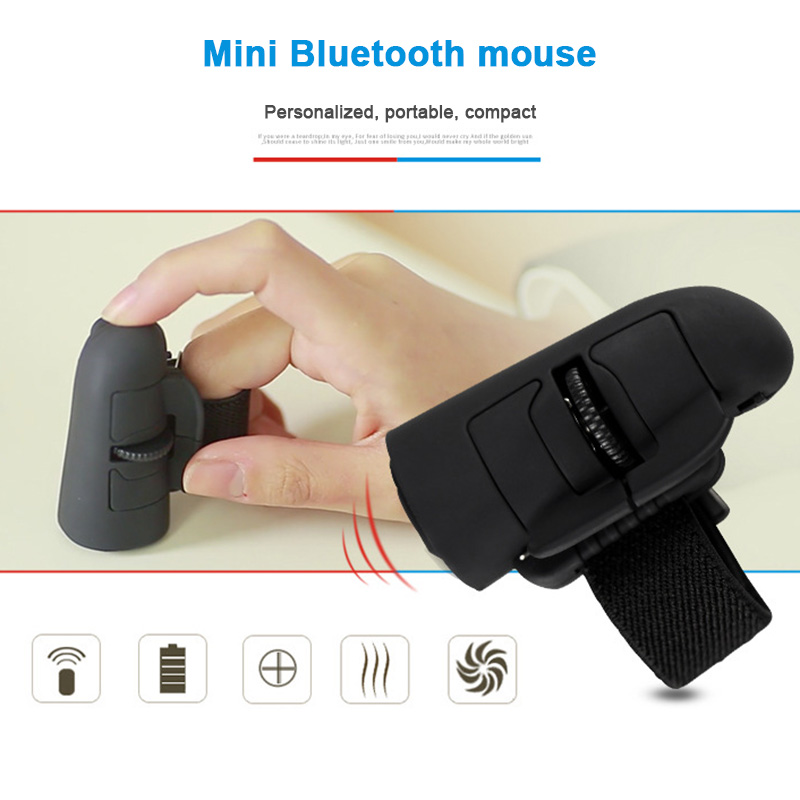 Mini Finger Mouse Wireless Bluetooth USB Optical Ring Mice for Laptop SL@88