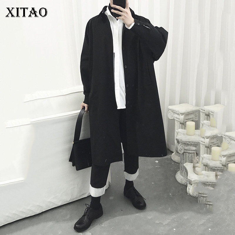 [XITAO] Single Breasted Wide-waisted Women Autumn 2018 Korea Fashion Turn-down Collar Full Sleeve Casual Long   Trench   CXB1314