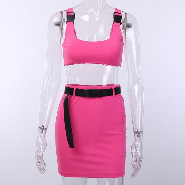 Conjunto de 2 piezas para mujer, camiseta sin mangas y falda con cinturón