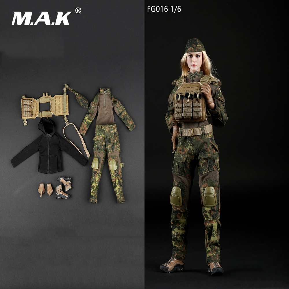 1/6 Female Tactical Shooter Camouflage Suit Costume Set FG016 For 12'' Woman Figure Body