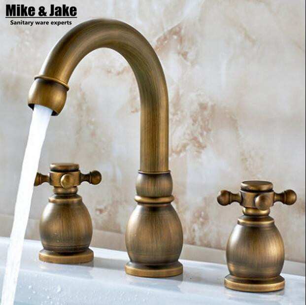 Double handle Antique basin faucet mixer tap 3pcs set antique brass faucet bathroom sink tap basin mixer vintageDouble handle Antique basin faucet mixer tap 3pcs set antique brass faucet bathroom sink tap basin mixer vintage