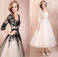 2017 Hot Sale Sexy Scoop Appliques Tull Tea Length A line Plus Size Wedding Dress Bridal Gown