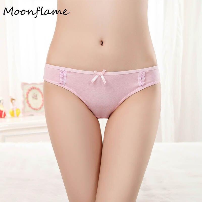 Moonflme 3 pcs/lots Hot Sale 2019 Solid Color Comfortable Cotton Woman   Panties   Underwear 89037