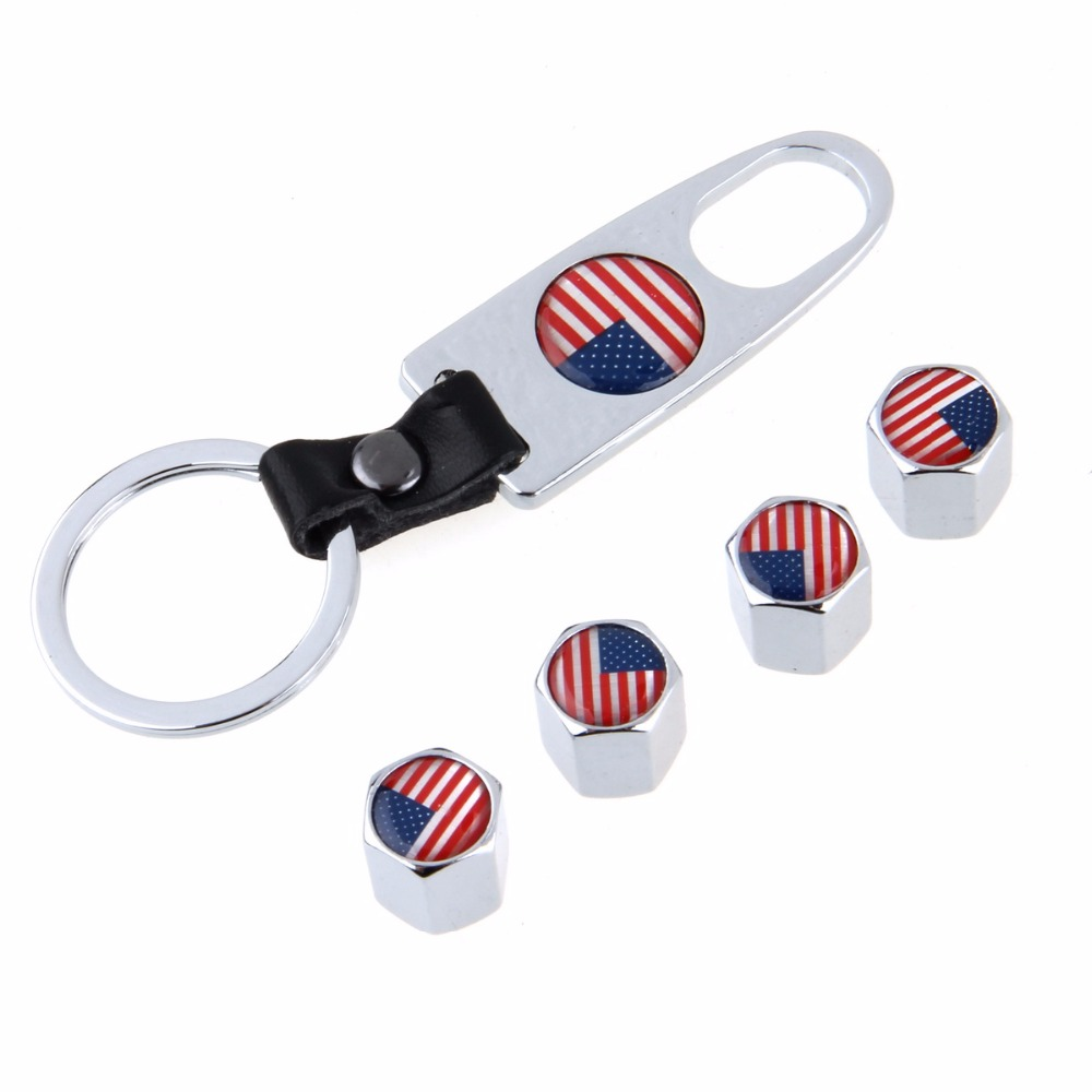 4Pcs/Set Car Styling American Flag Stainless Steel Wheel Tyre Tire Stem Air Valve Caps with Keychain Silver Auto Accessories