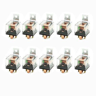10 Pcs 1NC 1NO SPDT 5P Green Indicator Light Auto Car Relay 12VDC 80A 10 pcs ceramic socket green pilot lamp 5 pin no nc spdt car relay dc12v 40a amp
