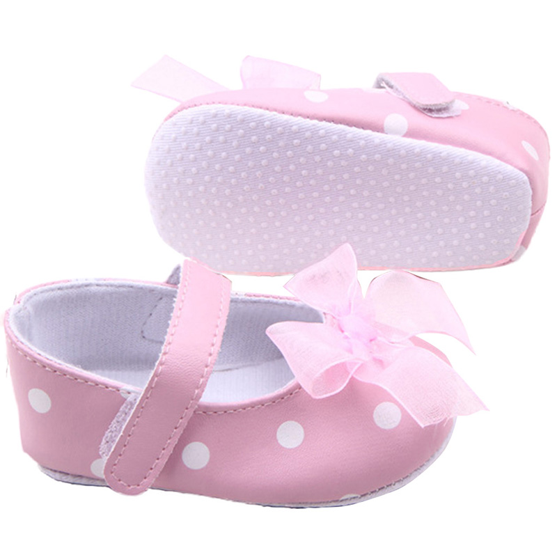 Kids Baby Girls Sweat Polka Dots Printed Shoes PU Leather Bow Decor Princess Shoes