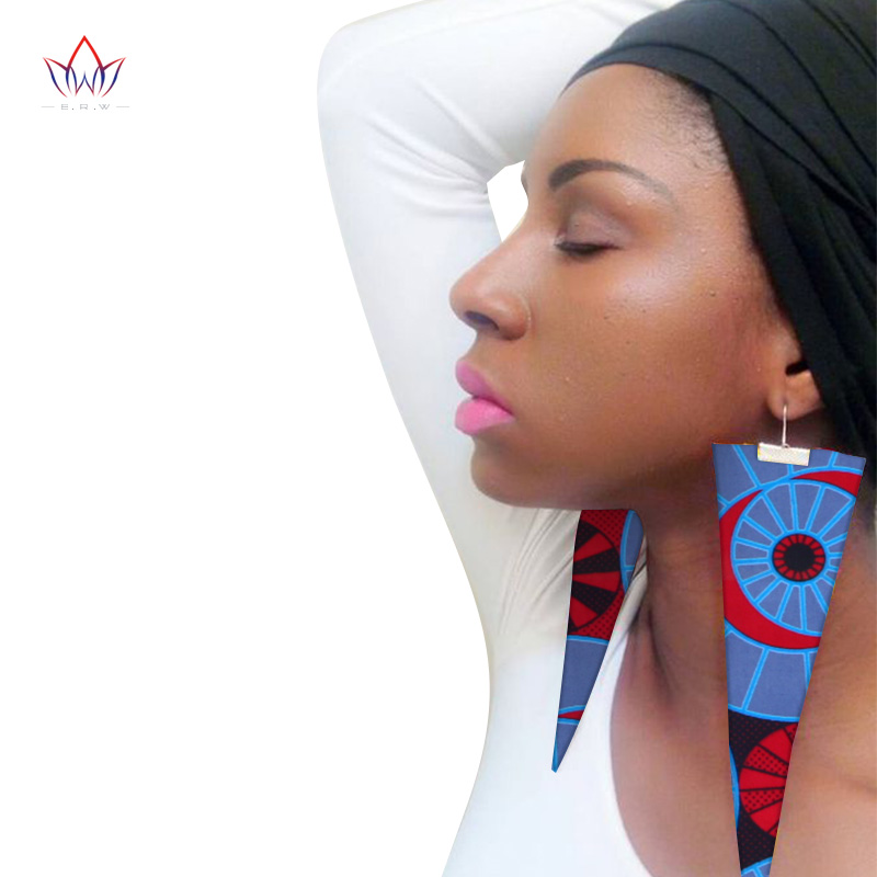 Trendy African Fabric Earrings Handmade Earrings For Women Party Gift African Print Ankara Big Oversized Drop Earrings WYB279