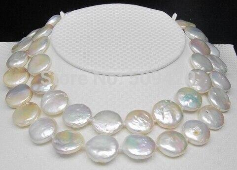 Livraison gratuite > > naturel énorme 13 - 14 MM AAA blanc coin perle colliers 32