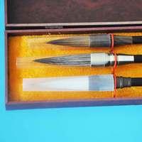3 unids/set cepillo de caligrafía china oso comadreja lana 3 cepillo de dibujo de pelo acuarela cepillo arte suministro de caja libre estacionaria