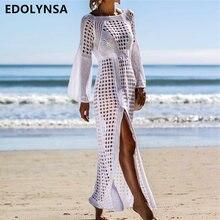 2019 Sexy Hollow Out Solid White Tunic Beach Dress Plus Size Women Summer  Beachwear Flare Sleeve Side Split Party Dress N716 ea93418c484c
