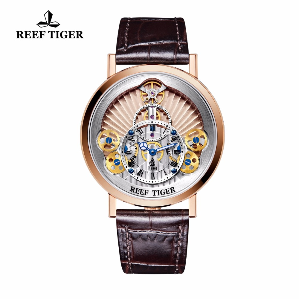 2018 New Reef Tiger/RT Luxury Gear Quartz Watches for Men Genuine Leather Strap Skeleton Watches RGA1958 yn e3 rt ttl radio trigger speedlite transmitter as st e3 rt for canon 600ex rt new arrival