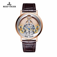 2018 New Reef Tiger/RT Luxury Gear Quartz Watches for Men Genuine Leather Strap Skeleton Watches RGA1958