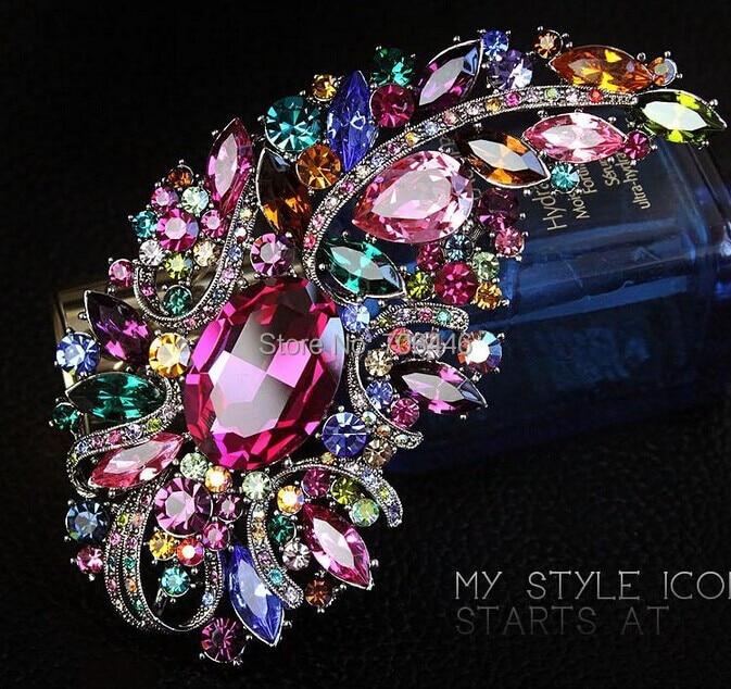 4.9 Huge Elegant Multicolored Rhinestone Crystal Diamante Wedding Bouquet Bridal Brooch Luxury Pin elegant faux gem rhinestone flower leaf brooch for women