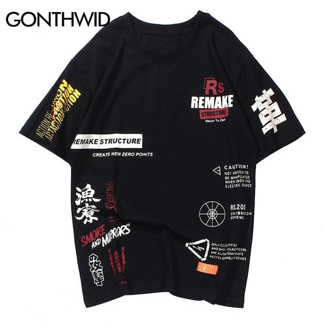 GONTHWID Männer Graffiti T Shirts Street 2019 Hip Hop Harajuku Gedruckt Kurzarm Tops Tees Männlichen Mode Casual CottonTshirts