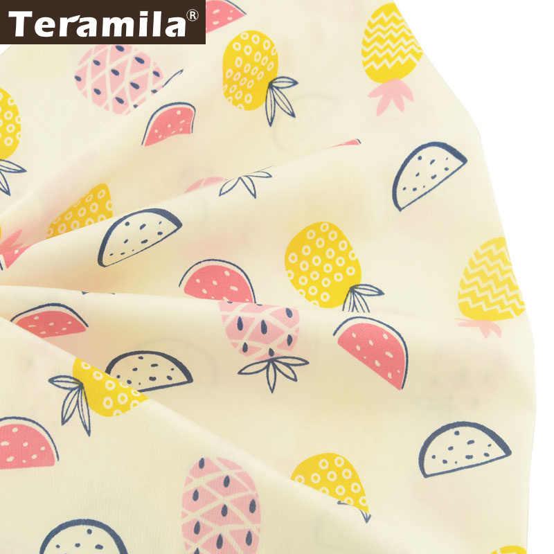 Teramila 100% хлопок ткань бежевый Материал Tecido ткань для вышивания кукол DIY шитье мультфильм фрукты стиль тела Скрапбукинг