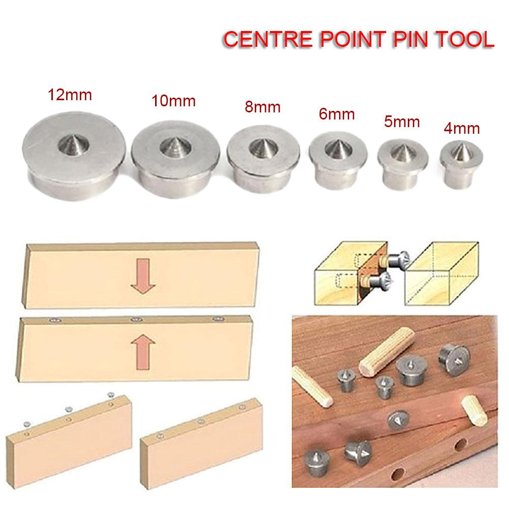 6PCS/Set 4-12mm Carpentry Locator Wood Dowel Center Punches Wood Pin Locator