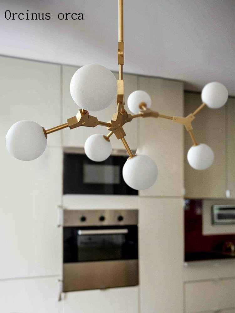 Postmodern creative personality magic bean chandelier restaurant bedroom Nordic simplified LED golden glass ball Chandelier