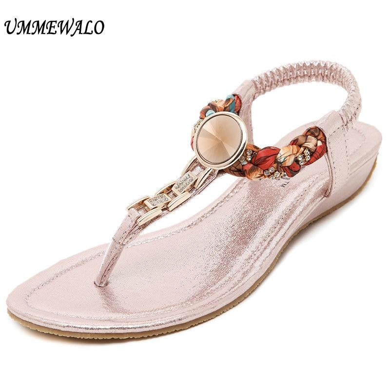 UMMEWALO летние сандалии Для женщин с Т-образным ремешком Вьетнамки стринги сандалии со стразами и металлической Босоножки-гладиаторы zapatos mujer