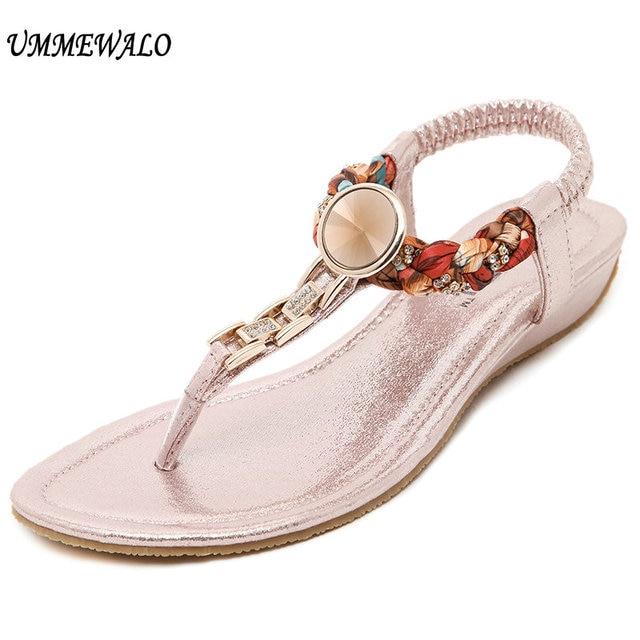 03273d06eb3c UMMEWALO Summer Sandals Women T-strap Flip Flops Thong Flat Sandals  Rhinestone Metal Gladiator Sandal Shoes Zapatos Mujer