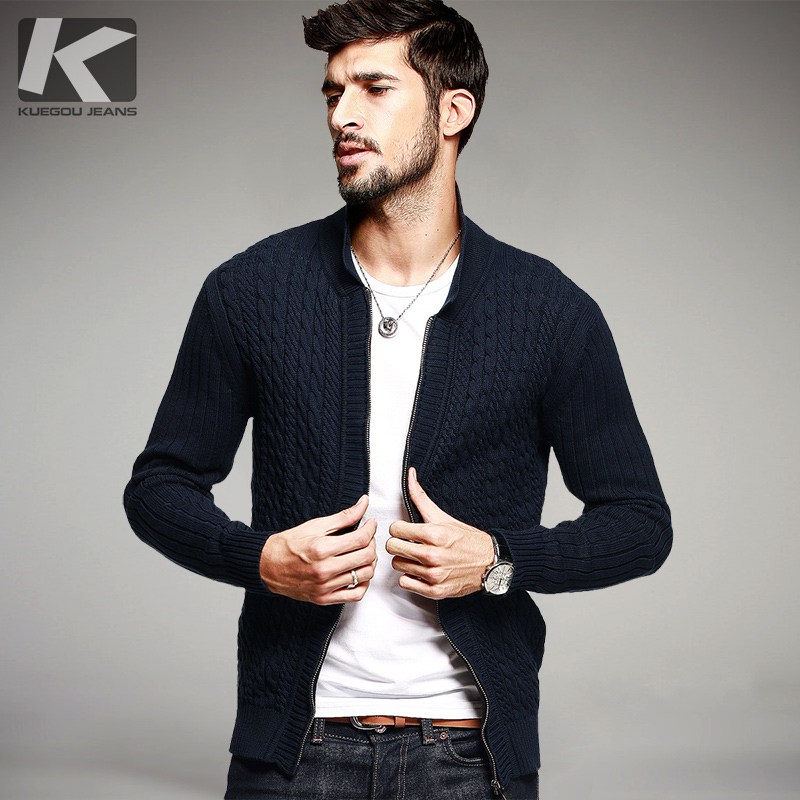 Autumn font b Mens b font Casual Sweaters 100 Cotton Blue Knitted Cardigan Knitting Brand font