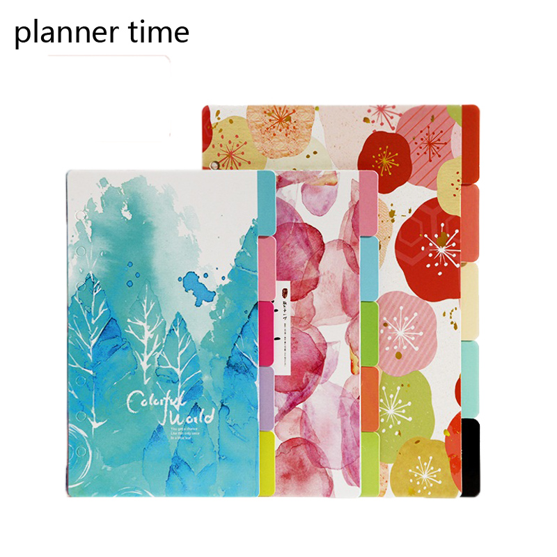 A5 A6 Flower Colored Delicate Art Paper Diario Planner Index Page Beautiful Retro Planner