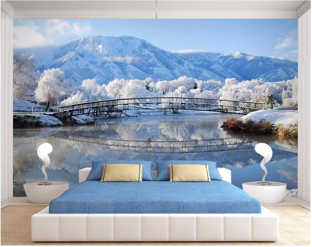 Custom photo d kamer behang mural romantische ijs wereld