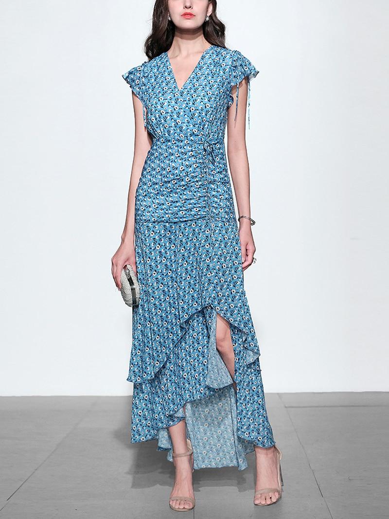 GoodliShowsi 2019 été mode femmes robes impression florale à manches courtes cordon asymétrique longues robes bohème robes