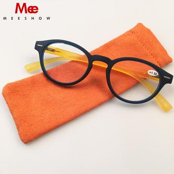 Meeshow Soft Touch okulary do czytania 1 25 Flex klasyczne młodzieńcze okrągłe kobiety okulary do czytania z etui do czytania okulary 1330 tanie i dobre opinie WHITE Antyrefleksyjną 3 6cm Akrylowe 4 5cm Z tworzywa sztucznego Blue yellow blue black 1 0 1 25 1 5 1 75 2 0 2 25 to +3 5