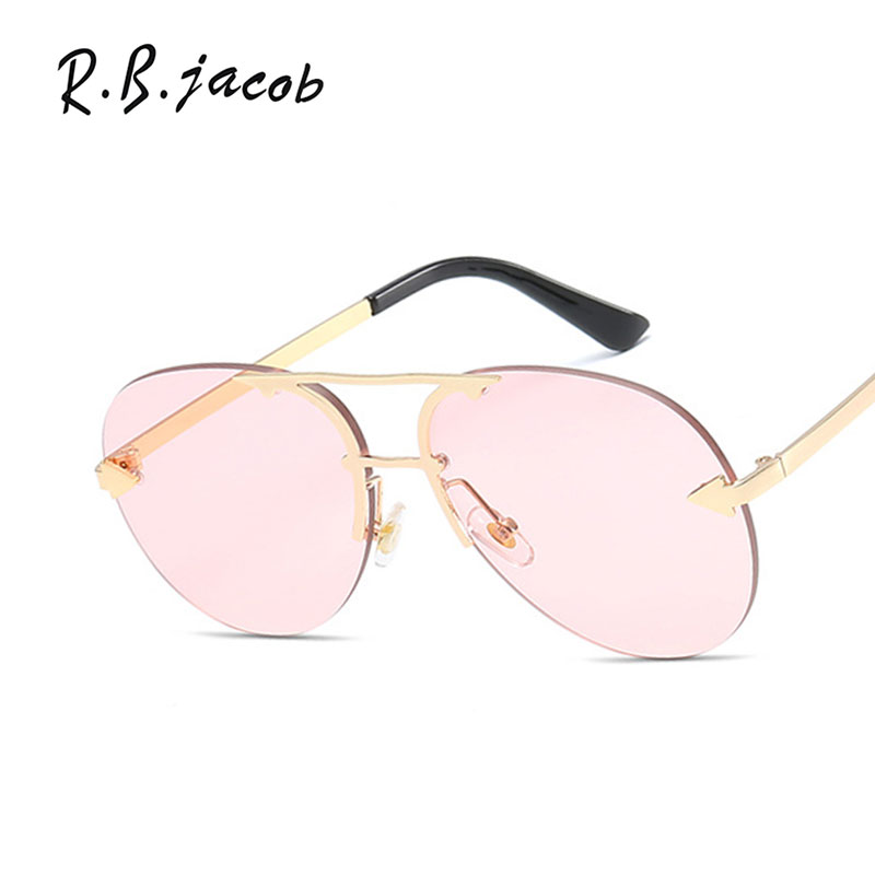 Classic Pilot Women Sunglasses For Men 2017 Hot Sale Aviator Vintage Cool Trend Ladies Rimless Sun Glasses UV400 Brand Designer