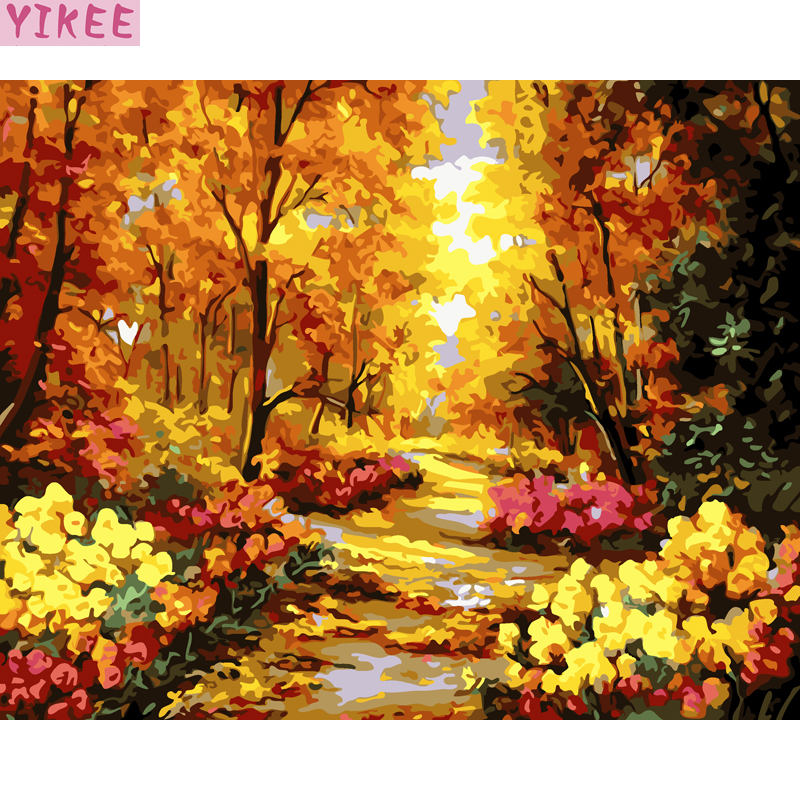 wall pictures for living room gold trees painting by numbers kits for adults,autumn landscape painting with numbers