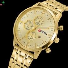 NORTH Men Watch Gold Luxury Stainless Steel Wristwatch Male Dress Watch Brand Waterproof Casual Clock Box Men Quartz Watches