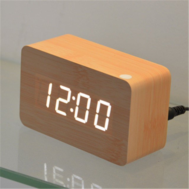 Home Decor LED Alarm Clock Wood Wooden Digital Clocks Bedroom Mini Desktop  Despertador Desk Table Projector