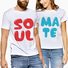 60c9cd7e78 Short Sleeve T Shirts Women Men Summer Tops Casual Creative Soulmate Letter  Couple Clothes White Matching