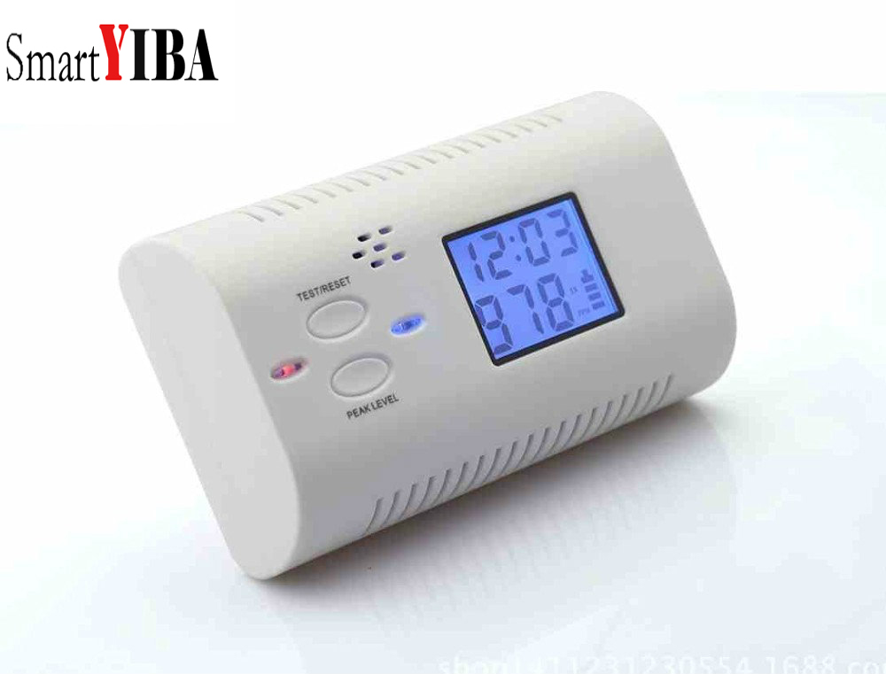 SmartYIBA Battery Operated Carbon Monoxide Detector Poisoning Gas Fire Warning Safe Alarm LCD Display with Voice Alarm