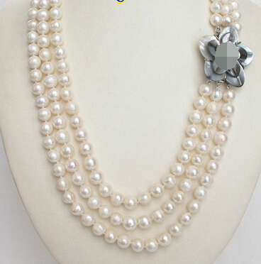 """16-36/"""" 10-11mm Natural South Sea White Baroque Edison Pearl 14K GP Necklace AAA"""