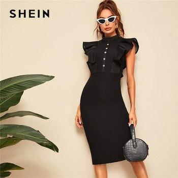 SHEIN Classy Elegant Mock-neck Fishnet Mesh Ruffle Trim Pencil Midi Dress Women Summer Abaya Solid High Waist Bodycon Dresses