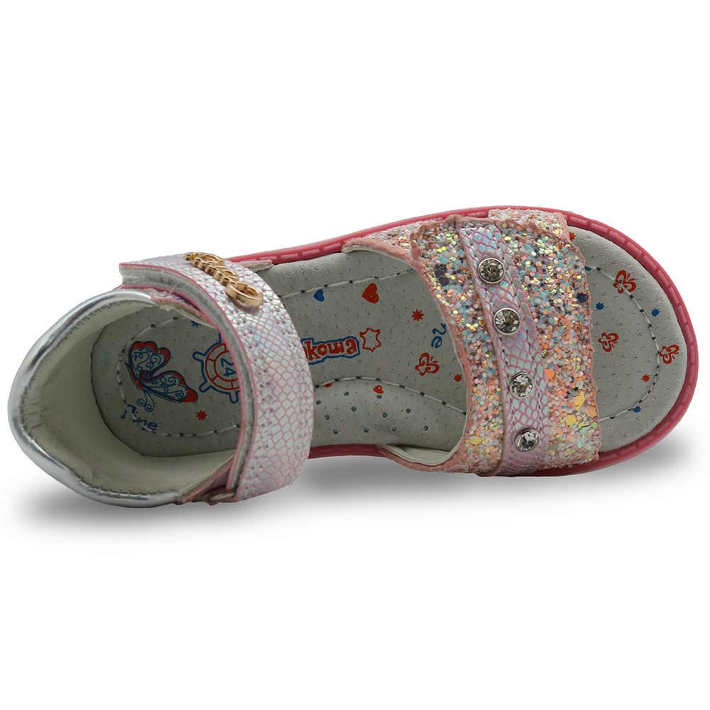 Apakowa สาวฤดูร้อนรองเท้าแตะรองเท้าเด็ก Rhinestone เจ้าหญิงชุดรองเท้า Flip Flops กับแถบยืดหยุ่นชายหาดรองเท้าแตะขนาด 21-28