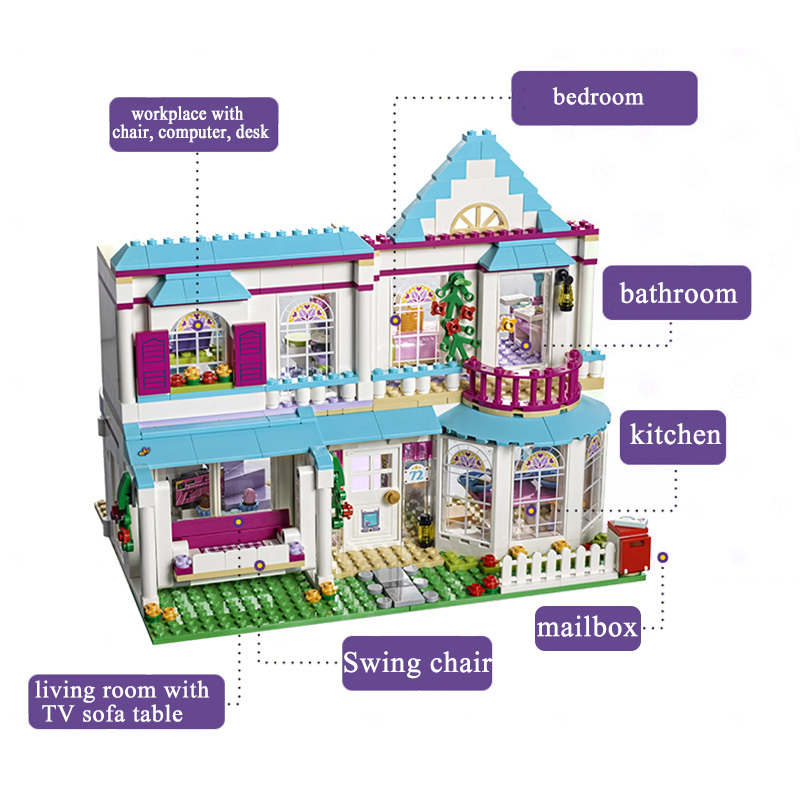 DIY Genuine Good Friend Girls Serie The Stephanies House Set Building Blocks Bricks compatible with playmobil toys for Children