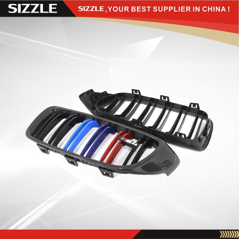 Fibre de carbone double lamelles calandre avant tricolore M4 emblème noir brillant pour BMW série 4 F32 F33 F36 & F82 F83 M4 & F80 M3 2014 +