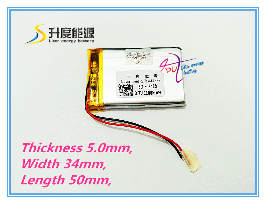 new GPS 503450 1100mah lithium-ion polymer battery 3.7V MP3/4 navigation intelligent water mete The tablet battery hot new yokogawa s9129fa s9129 9129 2 4v 1100mah battery back up dcs