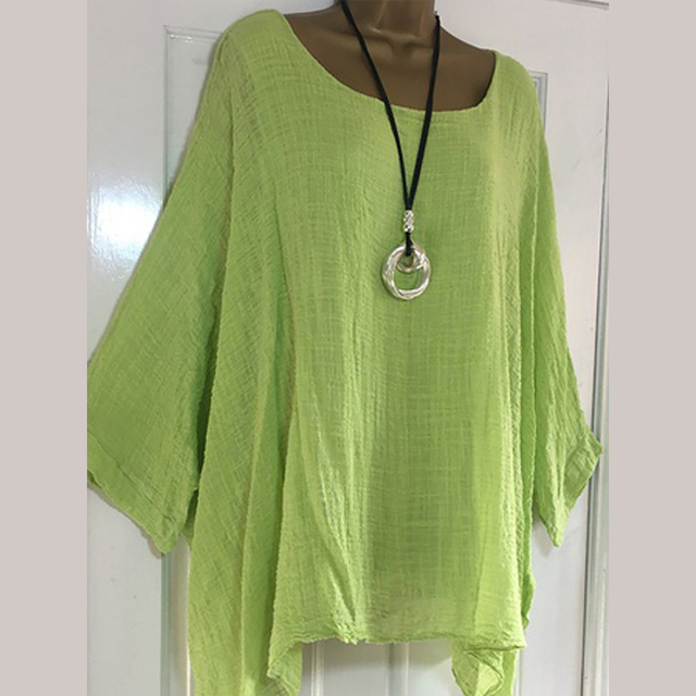 4XL 5XL Plus Size Casual Womens Tops And Blouses Loose O Neck Women Blouses Batwing Long Sleeve Solid Women Tunic Ladies Tops 2