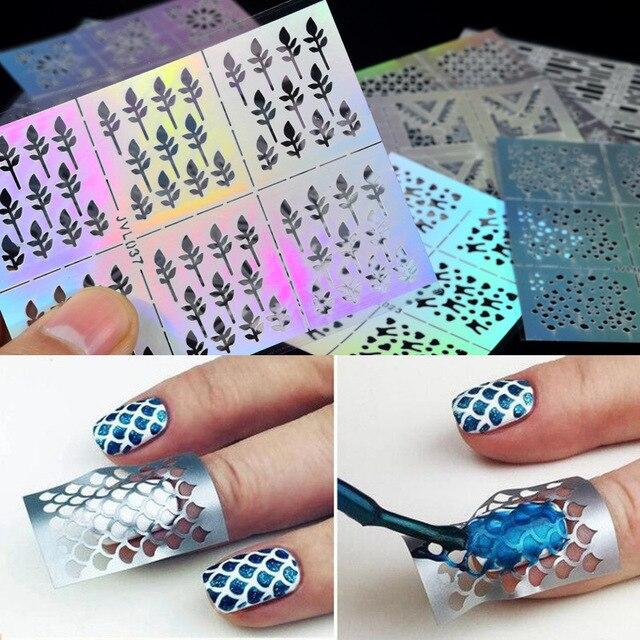 23 Types Irregular Grid Stencil Reusable Nail Art Vinyls Hollow