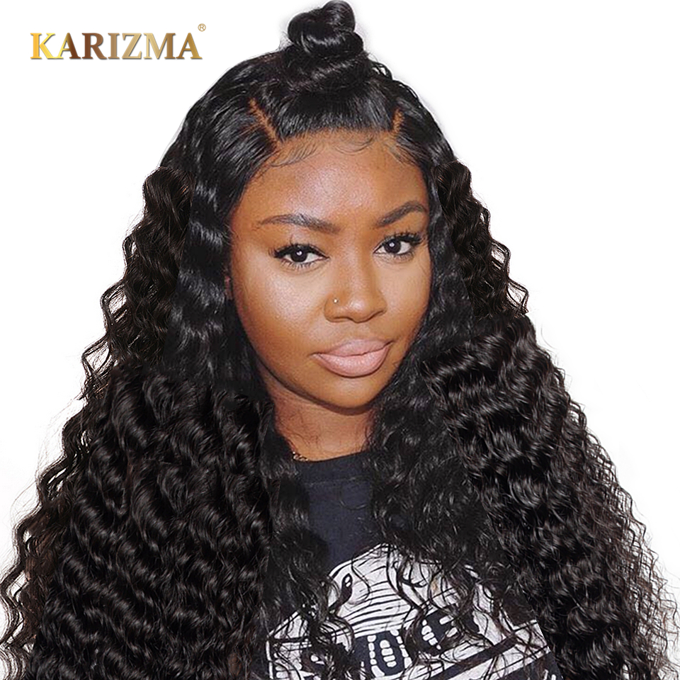 Karizma Lace Frontal Wig With Baby Hair Pre Plucked Lace Front Wigs 130% Indian Straight Hair Remy Human Hair Wig Natural Black Lace Front Wigs Lace Wigs