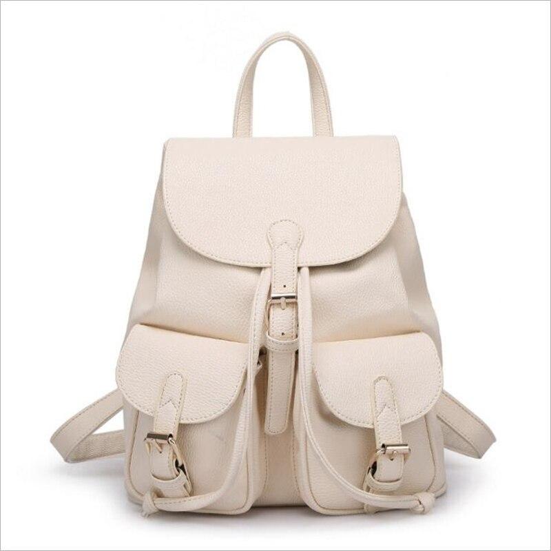 Women Leather Backpack Drawstring Rucksack for Teenager Girl on ...