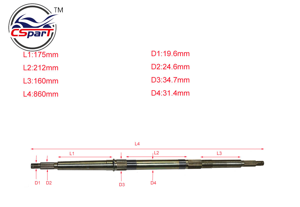 Kazuma 150cc 150 Dingo Quad Bike ATV Rear Axle 860MM 19.6mm