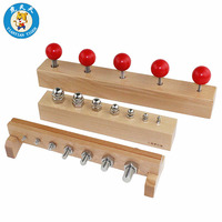 Baby Montessori Early Educational Wooden Toys Preschool Teaching Aids Nuts and Bolts Set