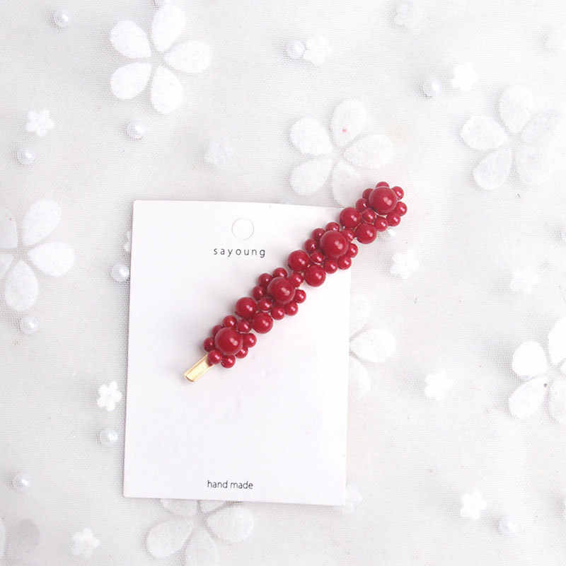 F162 Nova Pérola Grampos de cabelo Para As Mulheres de Noiva Vermelho Chineses Feminino Grampo de Cabelo Acessórios Do Cabelo Do Casamento Pinos de Cabelo Pedaço Cabeça