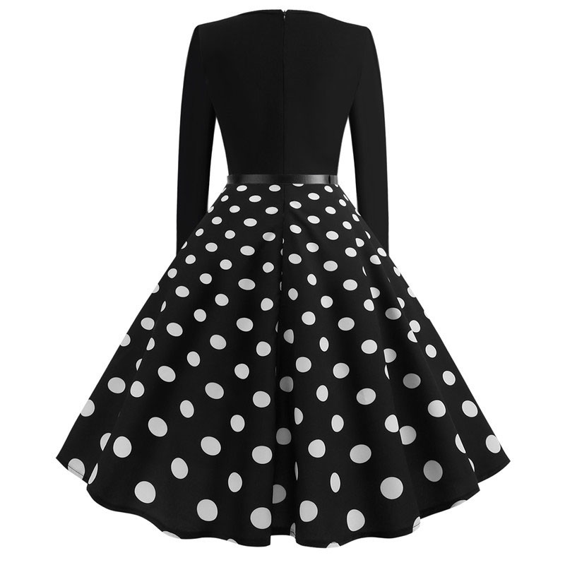 White Polka Dot Dress Women Long Sleeve Robe hiver Vintage 50s 60s Rockabilly Gothic Pin Up Spring Winter Dresses with Belt 1