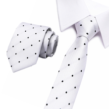 Fashion Silk Necktie Black and White dot Tie Skinny Narrow gravata Ties For men  8cm width Wedding tie office group ties stylish white polka dot pattern 6cm width men s black tie